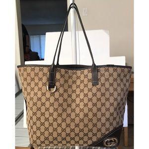 Authentic Gucci Gg Monogram Canvas Abbey Tote Bag